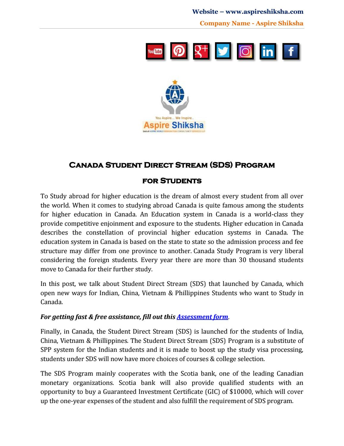 Canada Student Direct Stream (SDS) Program For Students by Aspire