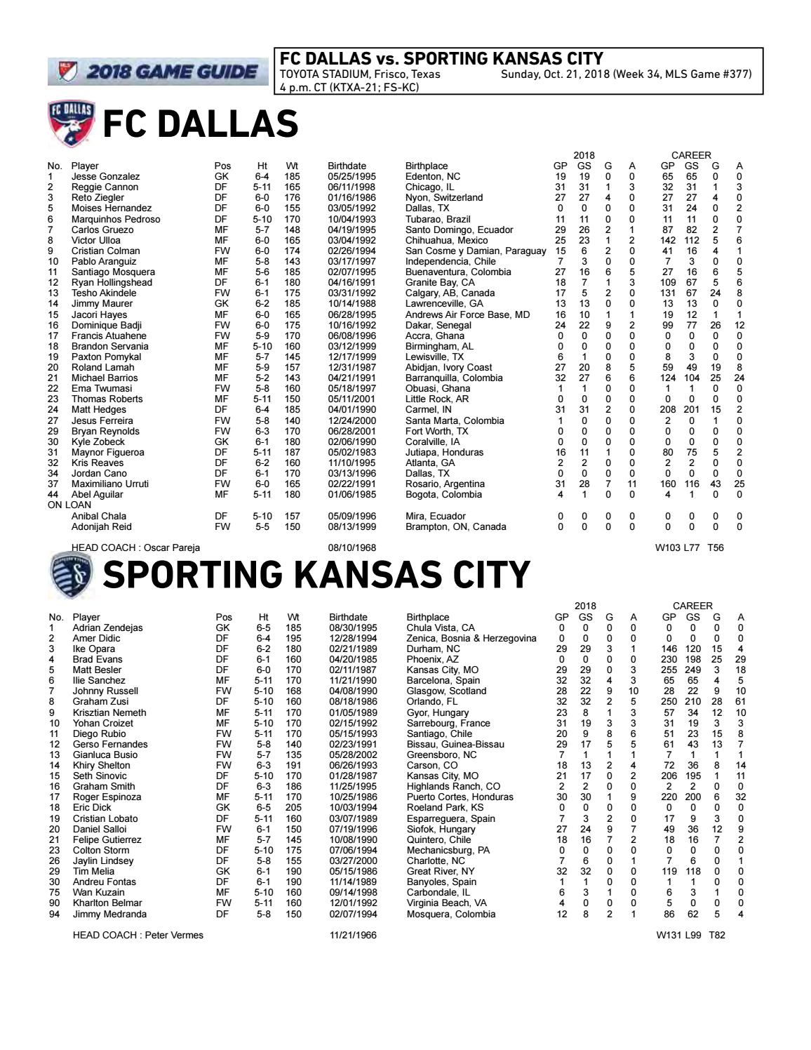 Game Notes: Sporting KC at FC Dallas | Oct  21, 2018 by