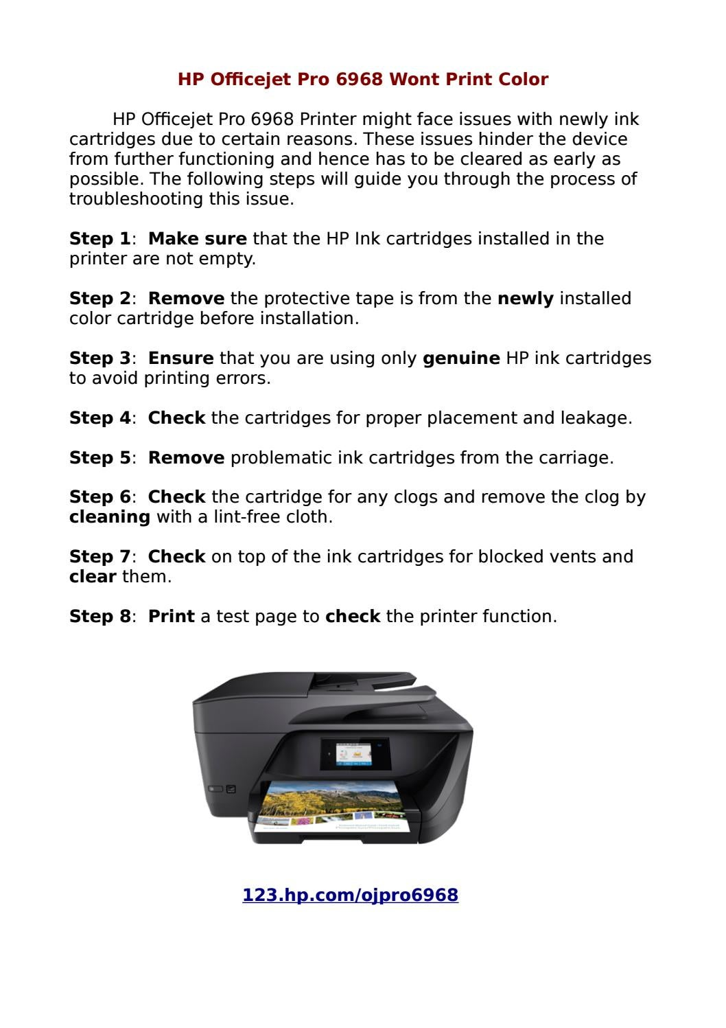 Instant Support for Troubleshooting HP Officejet Pro 6968 Printer by