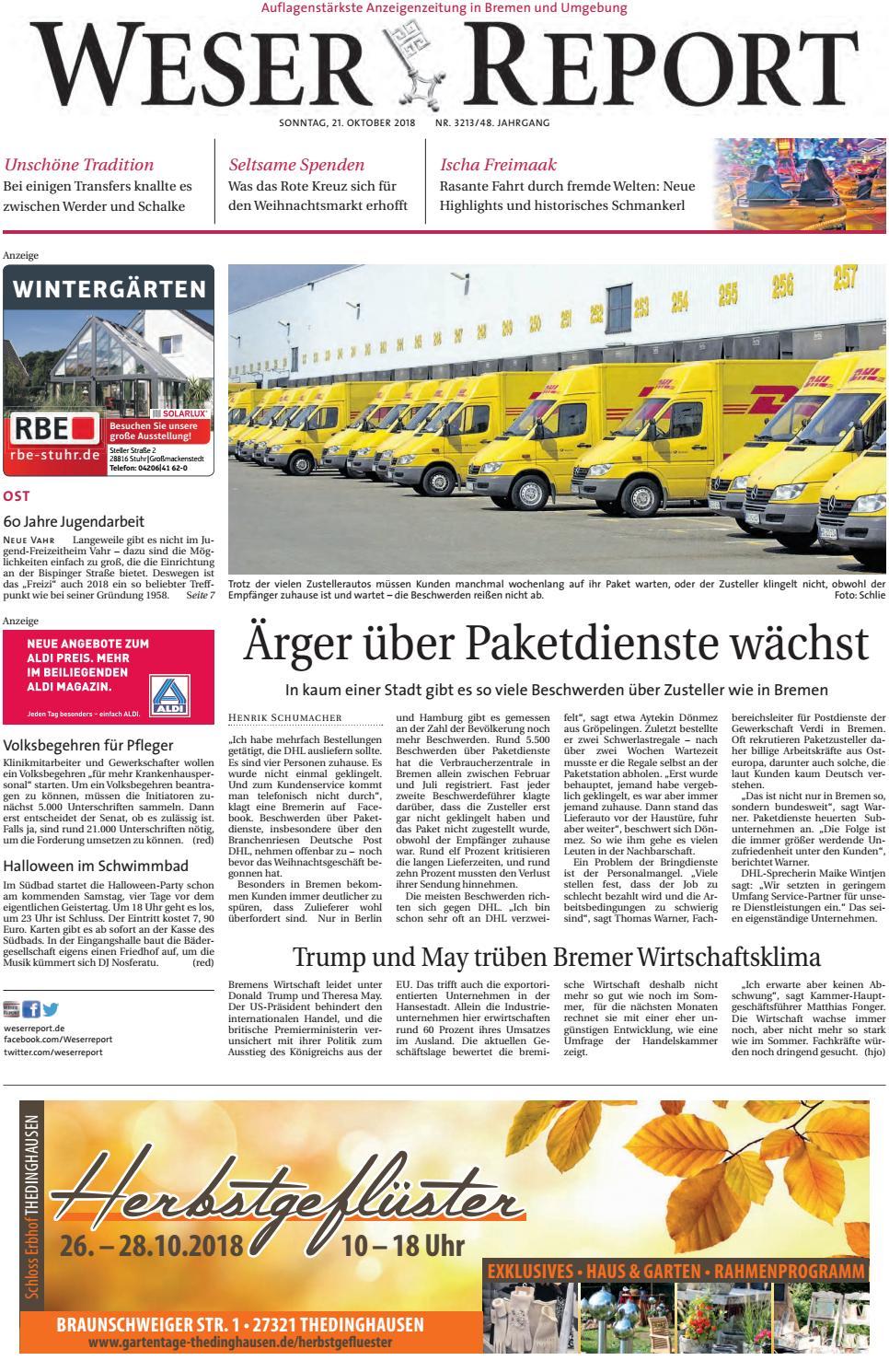 Weser Report Ost Vom 21 10 2018 By Kps Verlagsgesellschaft Mbh Issuu