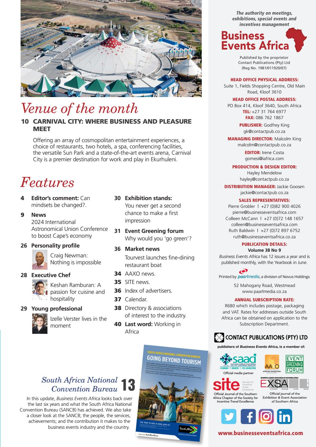Business Events Africa September 2018 Vol 38 No 9 by Contact