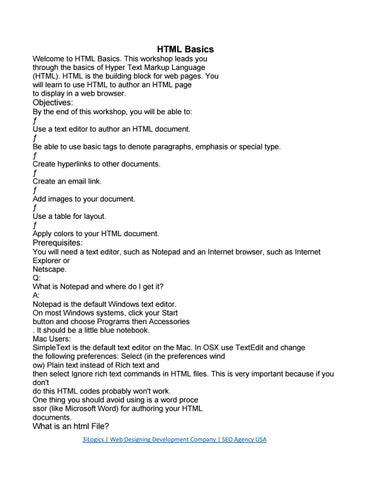 Basic Html Notes Pdf