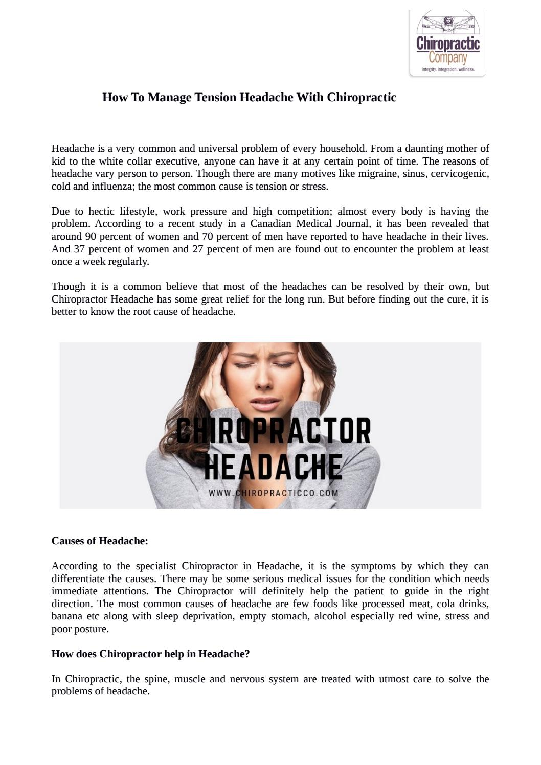 How To Manage Tension Headache With Chiropractic by