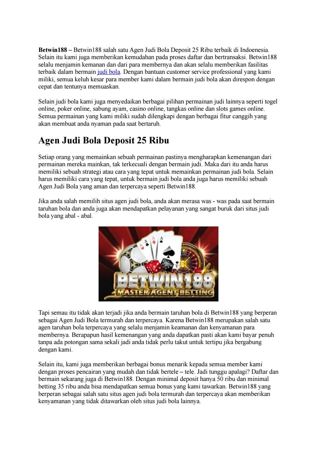 Agen Judi Bola Deposit 25 Ribu By Goodlucky99 Issuu
