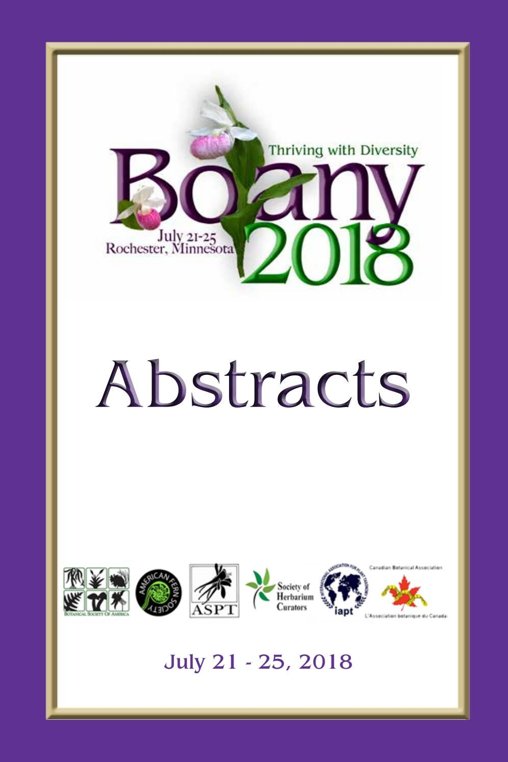 Botany 2018 Abstract Book by Johanne Stogran issuu