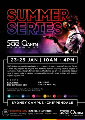 SAE QANTM SYDNEY CAMPUS - SUMMER SERIES 2019 - A3 POSTER by