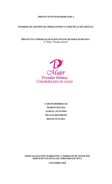Proyecto Integrador Fase 3 Informe De Gestión De Operaciones