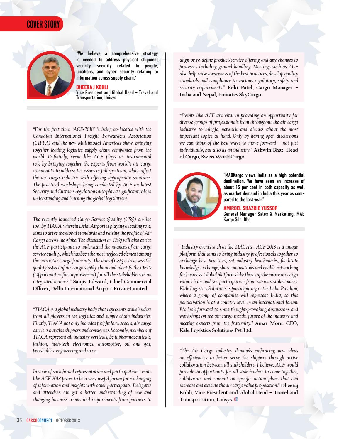 Cargoconnect October Issue 2018 By Surecom Media Issuu