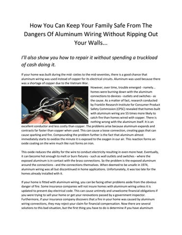 Tremendous Aluminum Wiring Repair Calgary By Aluminumwiringrepair Issuu Wiring Digital Resources Cettecompassionincorg