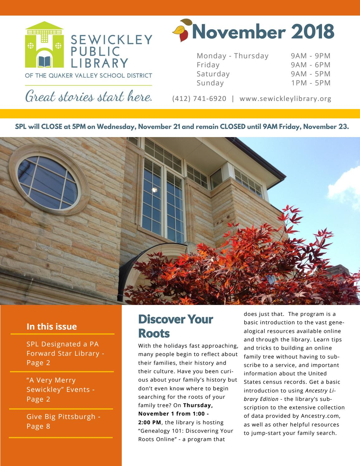 November 2018 by Sewickley Public Library - issuu