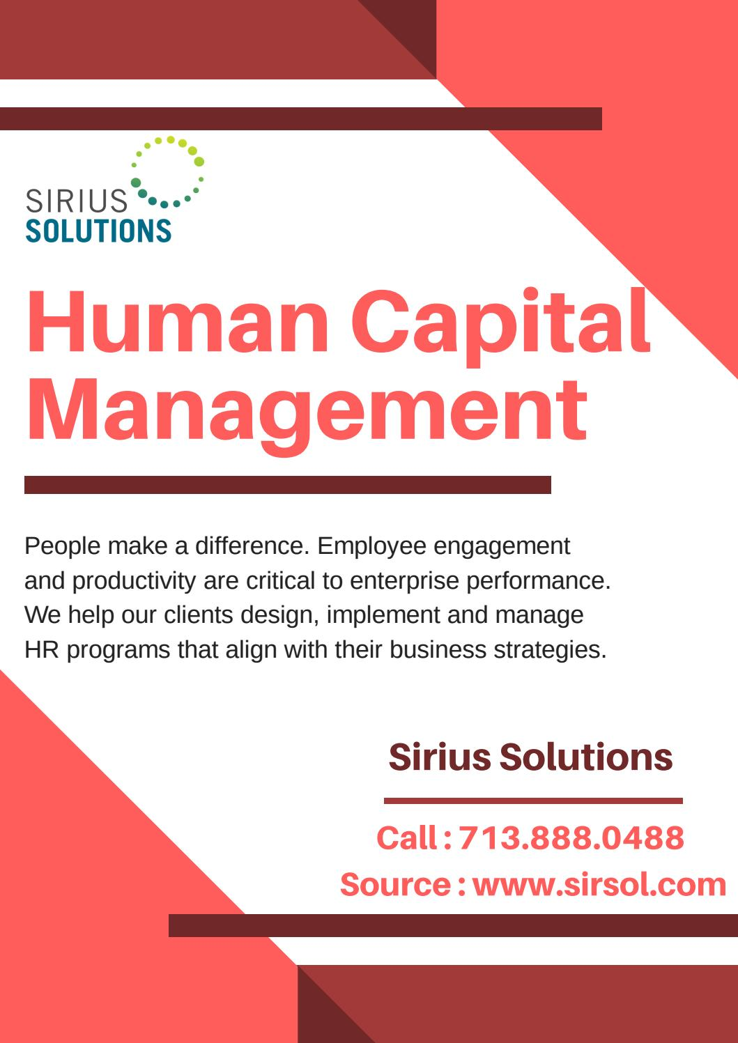 Experts In Human Capital Consulting Sirius Solutions By Sirius Solutions Issuu