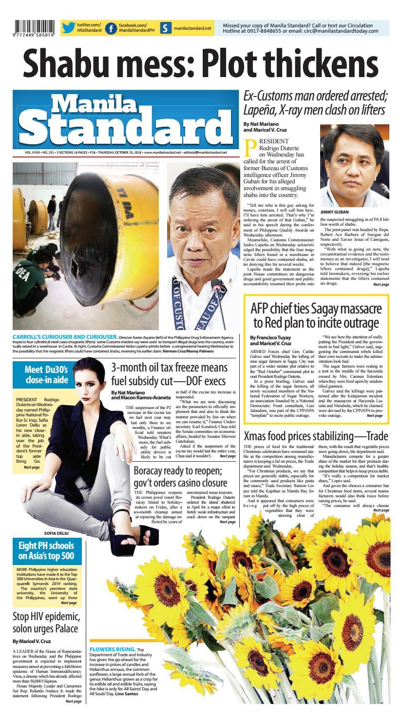 Manila Standard - 2018 October 25 - Thursday by Manila Standard - issuu