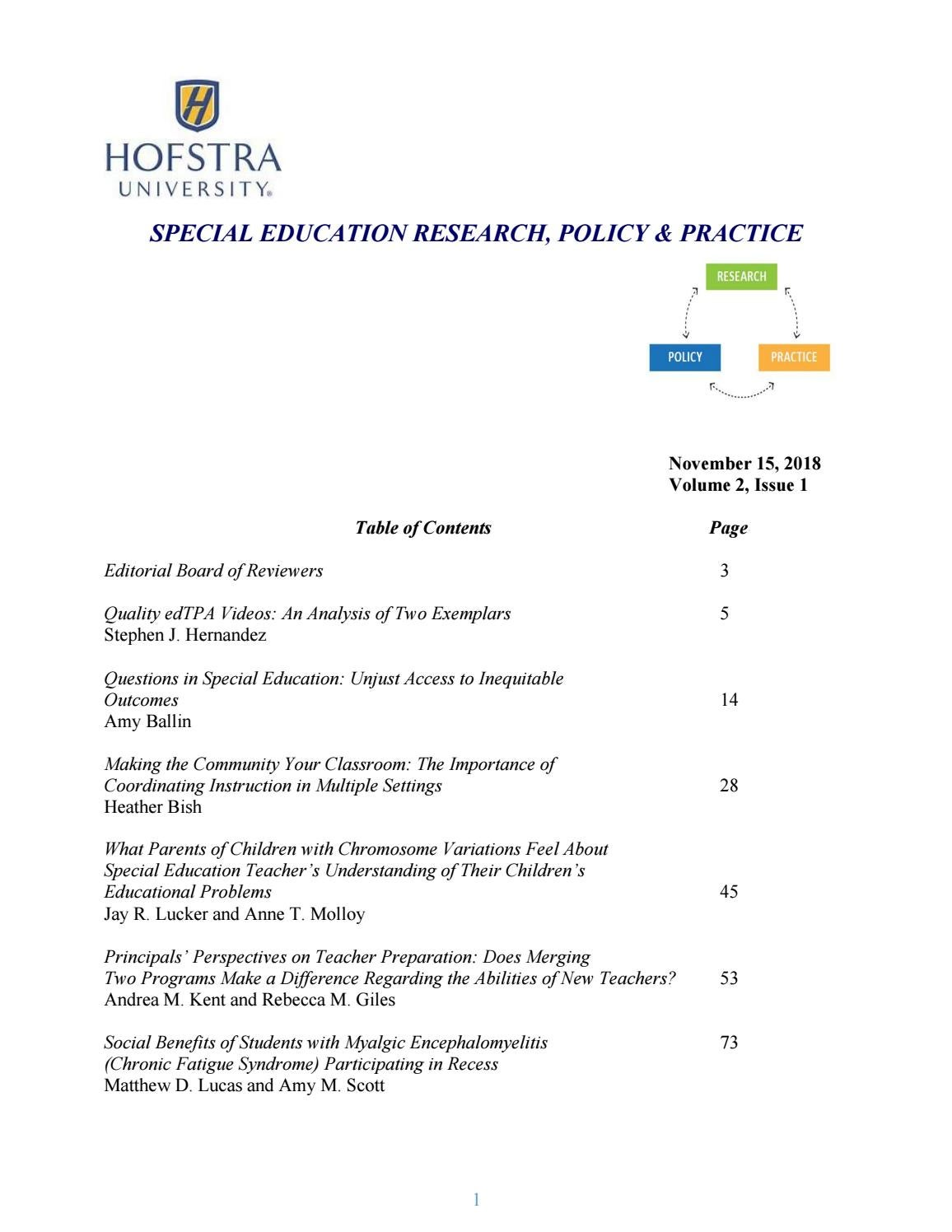 Special Education Research, Policy & Practice - 2018 by