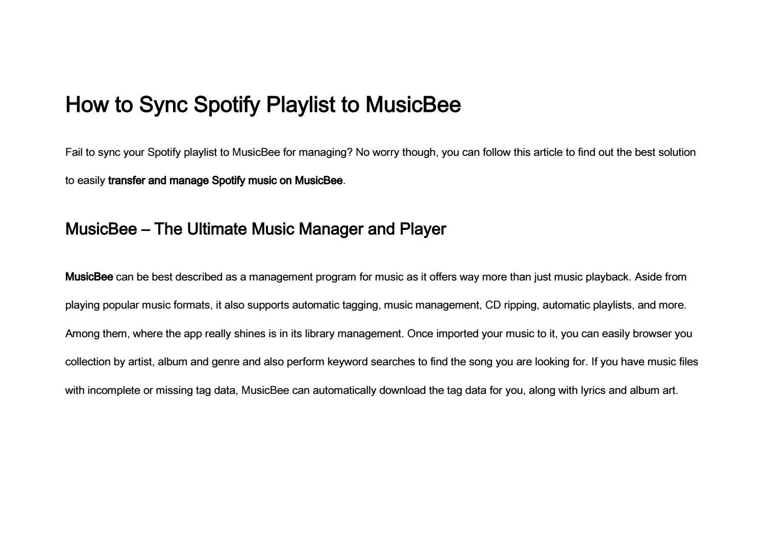 How to Sync Spotify Playlist to MusicBee by nancy - issuu