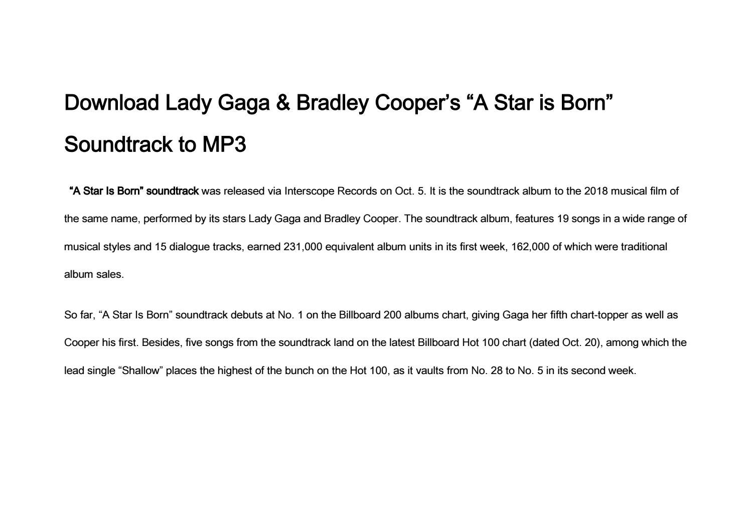 """Download Lady Gaga & Bradley Cooper's """"A Star is Born"""" Soundtrack to"""