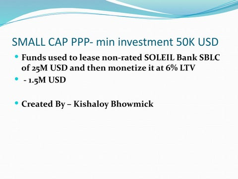 Soleil Bank SBLC Monetization-6% Non-recourse by kishaloy bhowmick