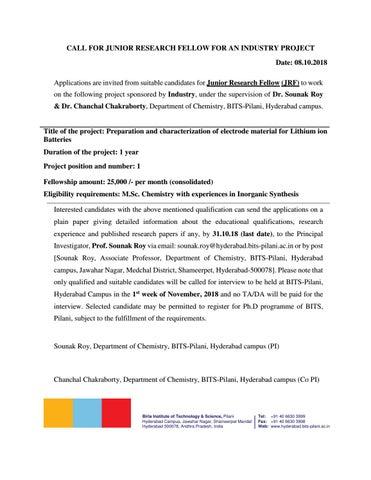 Chemistry Jobs @ BITS-Pilani | Junior Research Fellow Post Vacancy