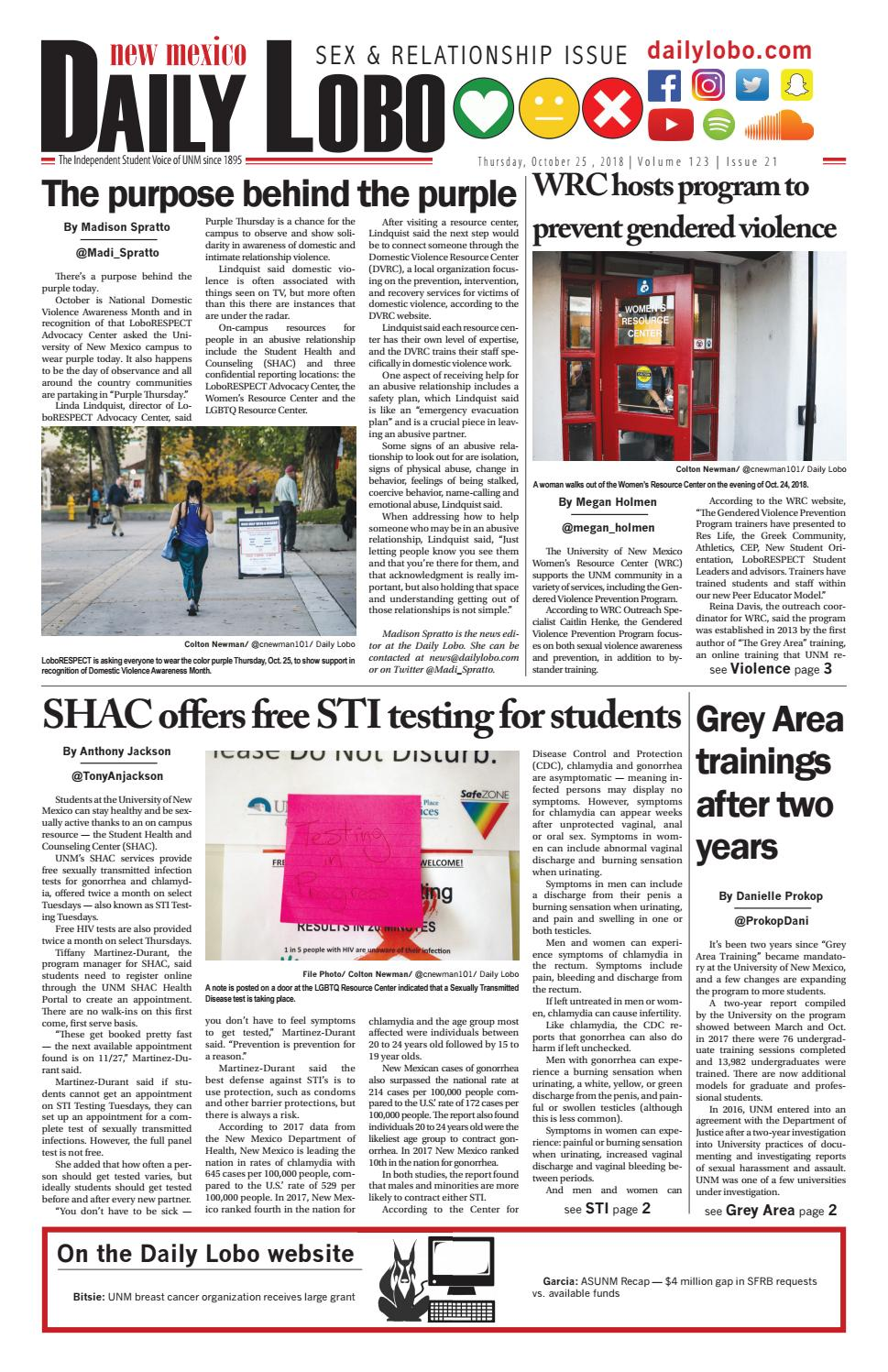 Daily Lobo 10/25/18 by UNM Student Publications - issuu
