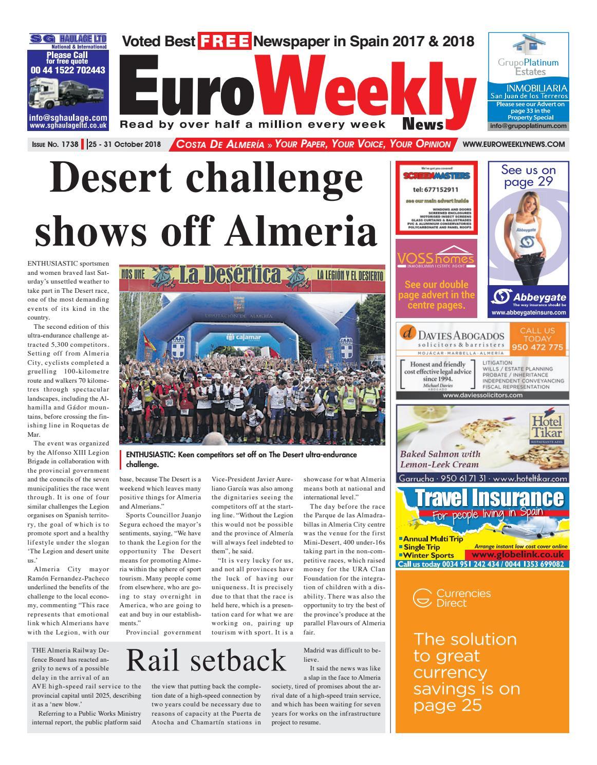Euro Weekly News Costa De Almeria October October 25 31