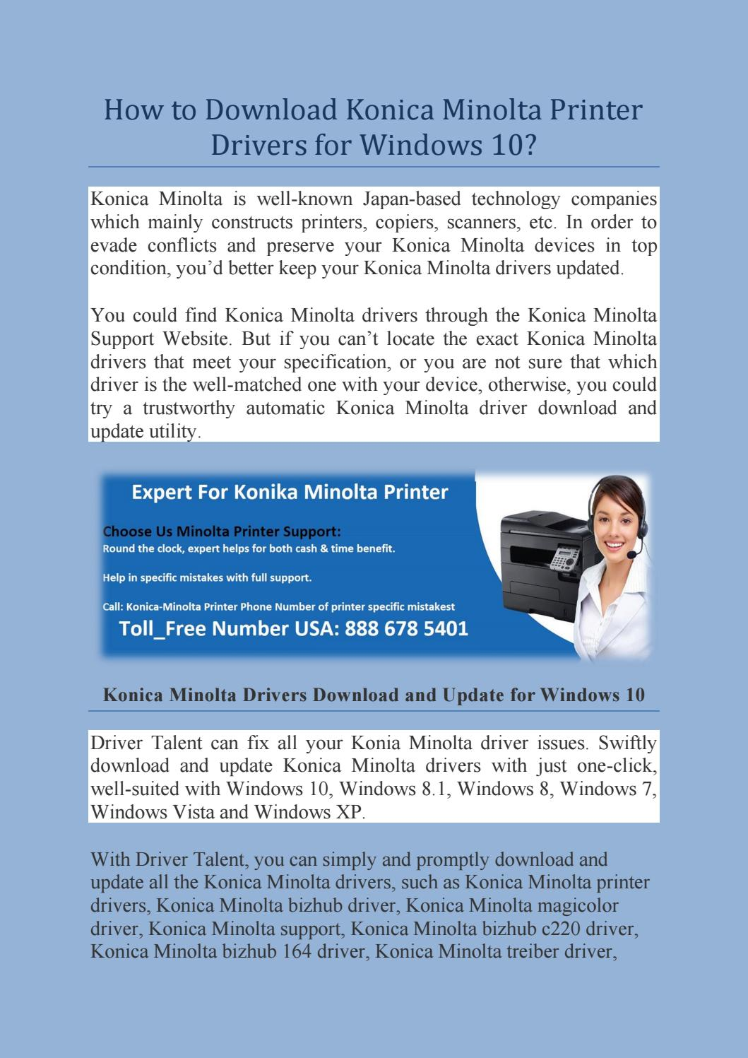 How To Download Konica Minolta Printer Drivers For Windows 10 By Printer Phonenumber Issuu