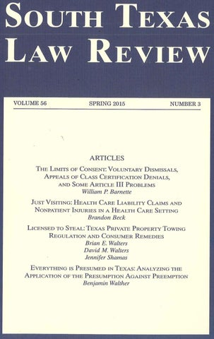 Volume 56, Number 3 by South Texas College of Law Houston