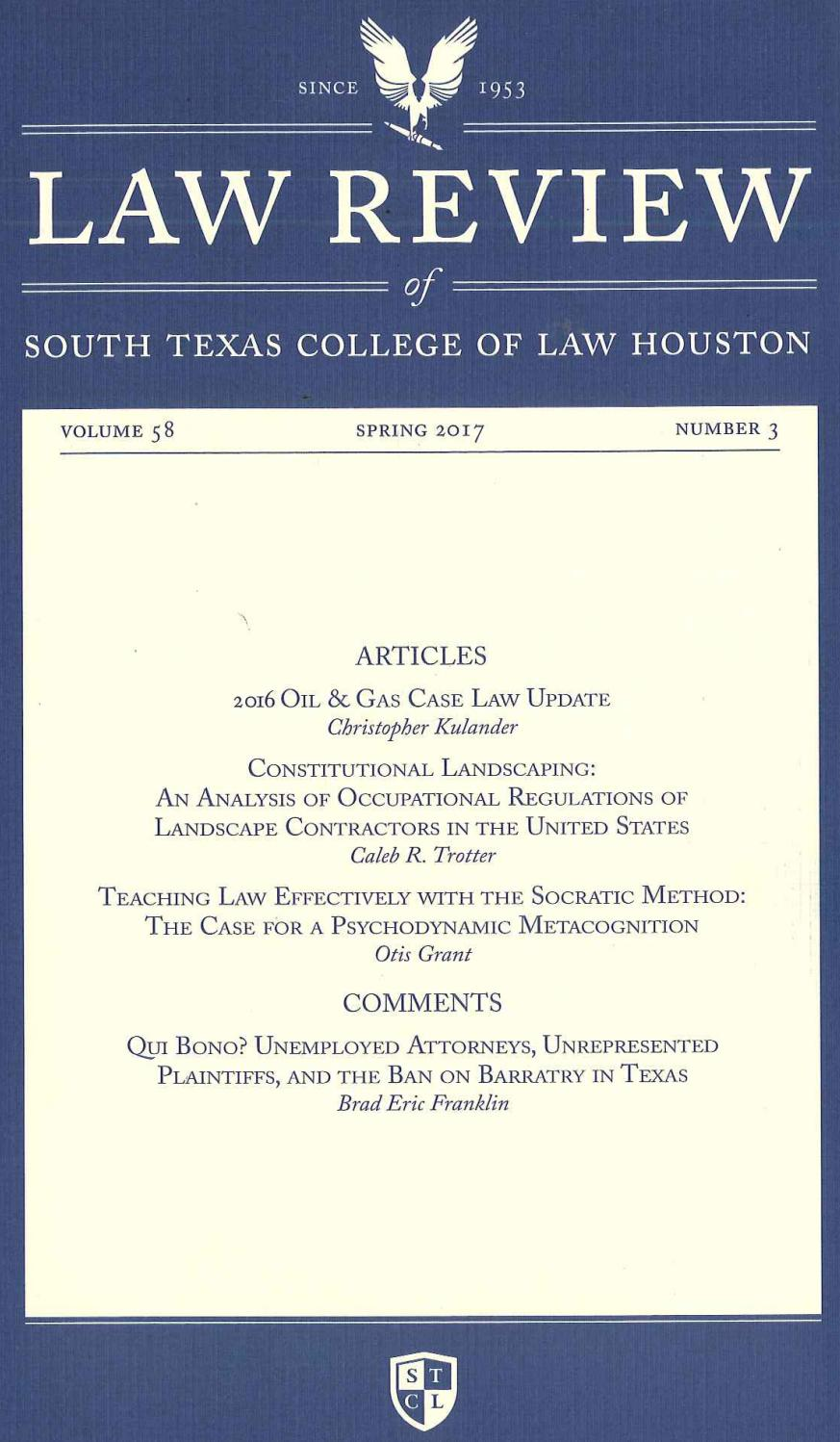 Volume 58 Number 3 By South Texas College Of Law Houston Law Review Issuu
