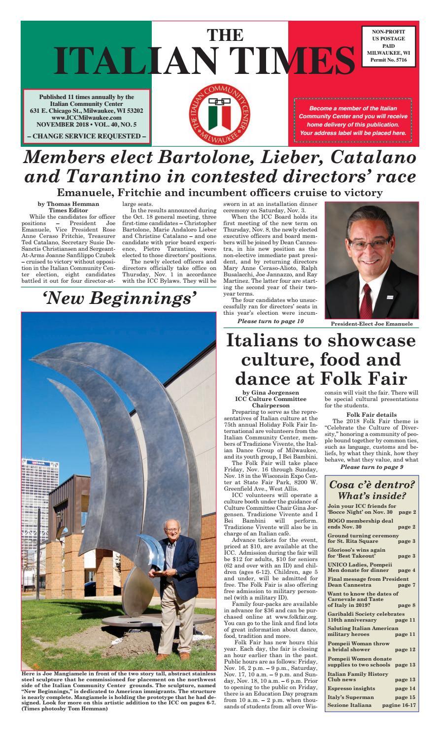 November 2018 Issue By Italian Community Center Issuu