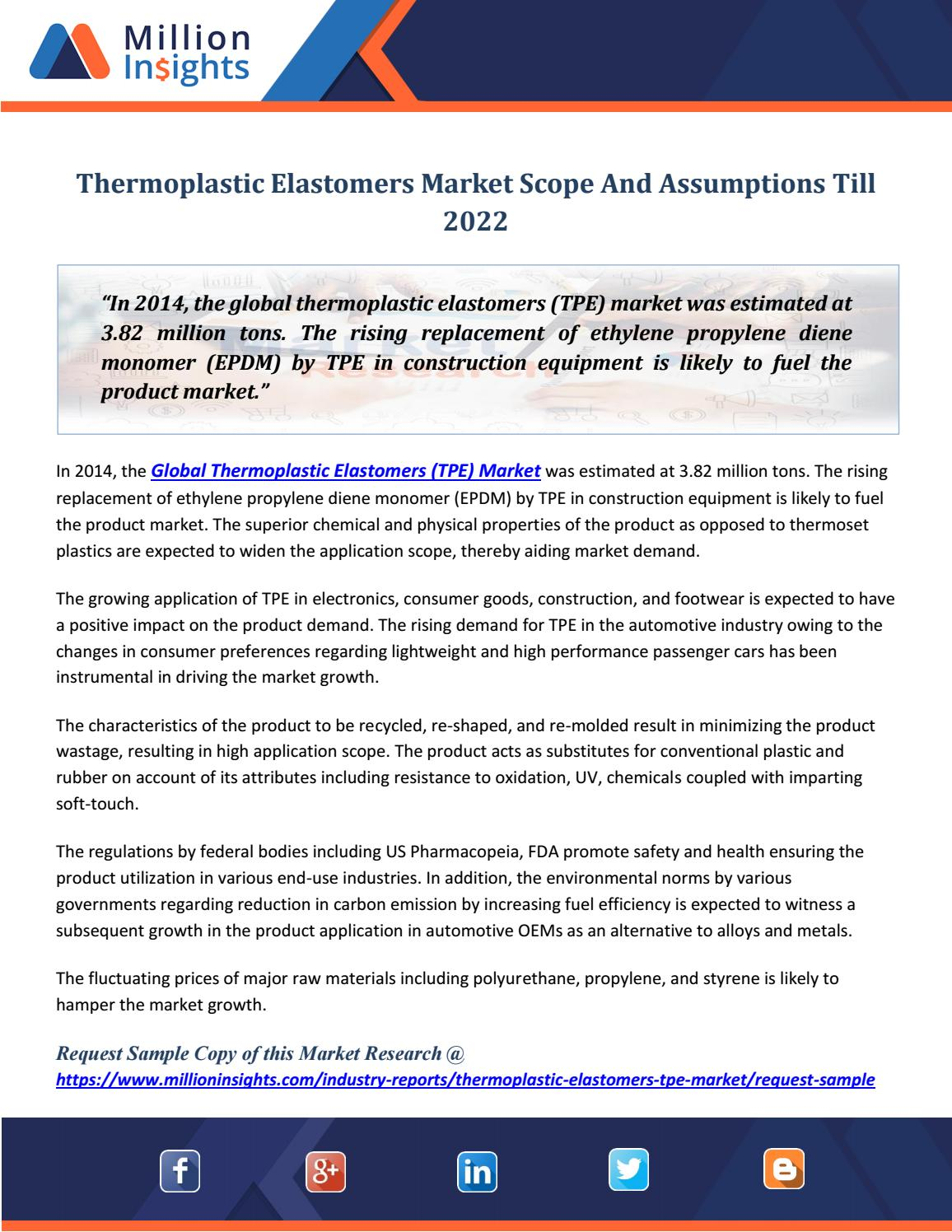 Thermoplastic Elastomers Market Scope And Assumptions Till 2022 by