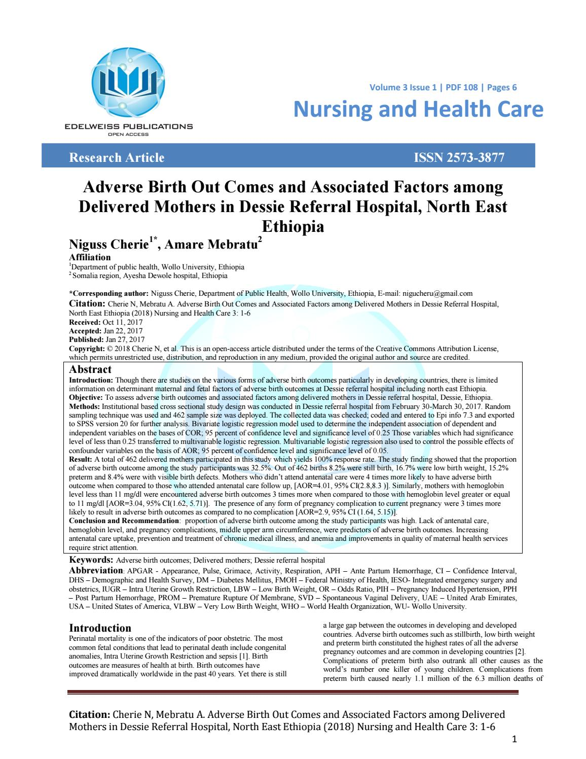 Adverse Birth Out Comes and Associated Factors among