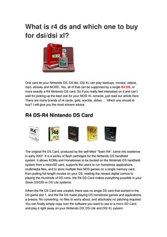 Which R4 DS card to buy for DSI/DSI XL in 2018? by Mod3DS