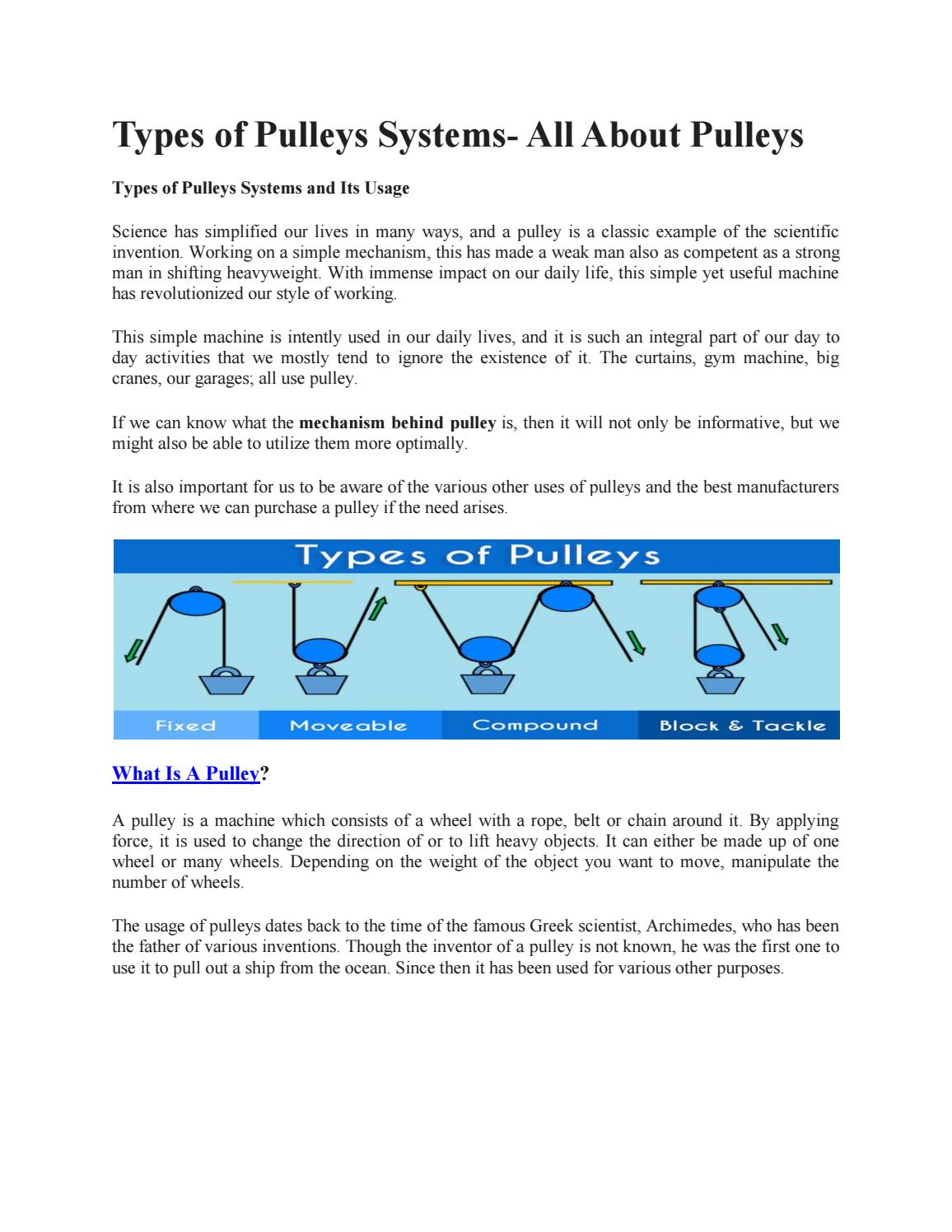 Types of Pulleys Systems- All About Pulleys by dadu