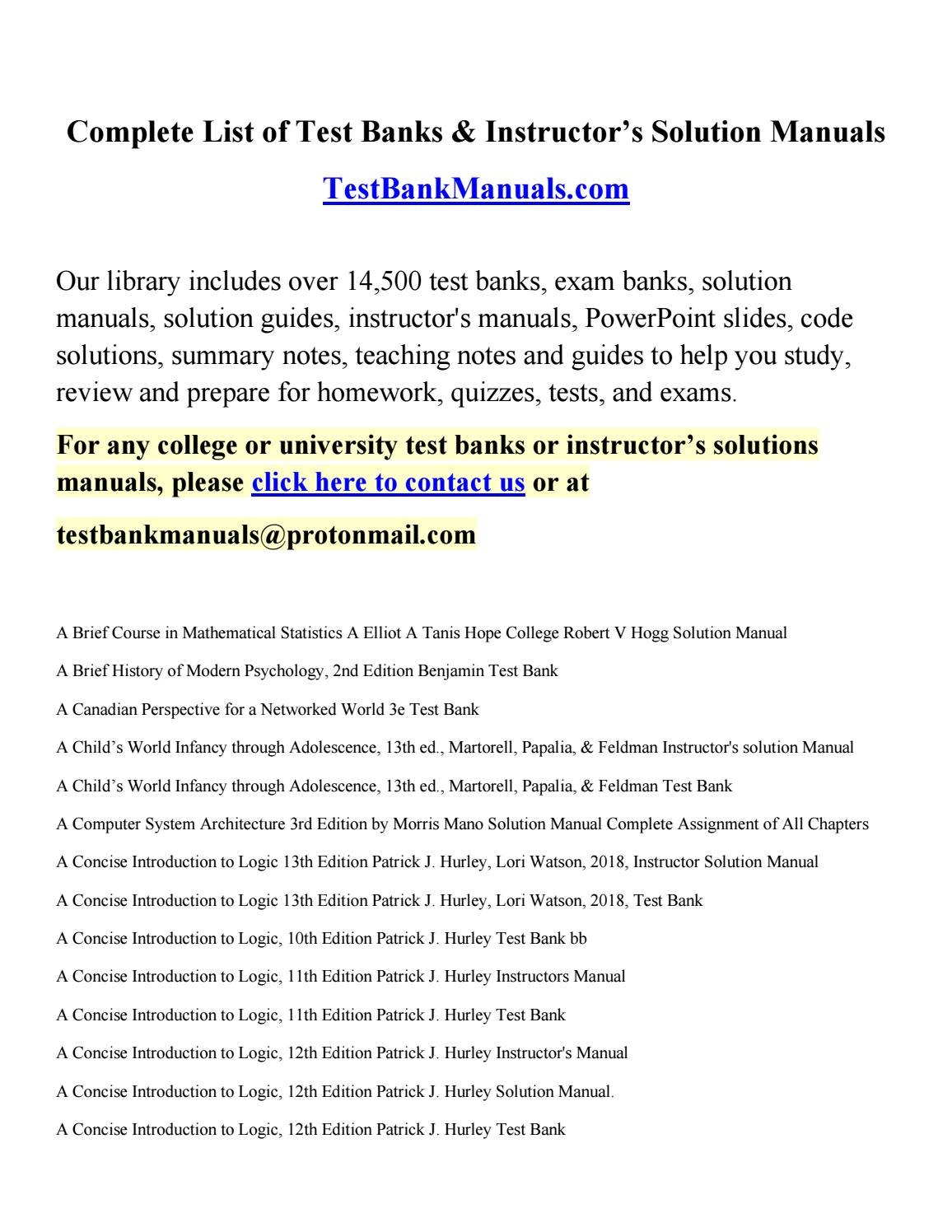Complete List of Test Banks & Solutions Manuals at TestBanksManual.com by  test-bank-solution-manuals - issuu