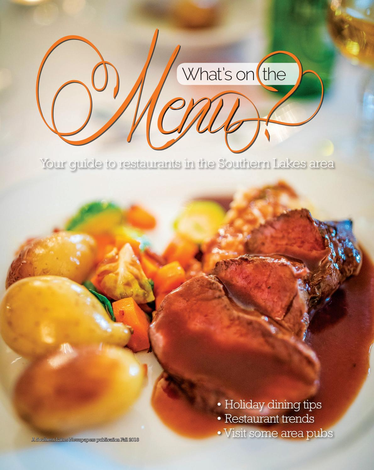 Menu Guide for Fall 2018 by Southern Lakes Newspapers / Rock Valley