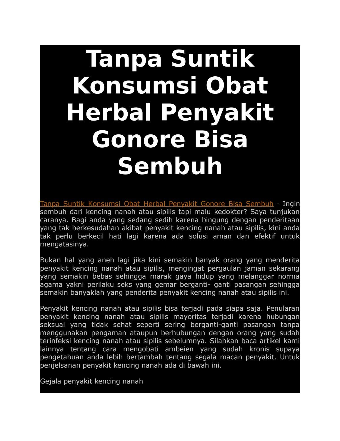Tanpa Suntik Konsumsi Obat Herbal Penyakit Gonore Bisa Sembuh By Kencing Nanah Spelis Cepat Issuu