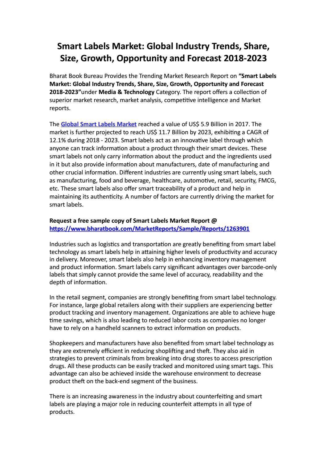 Smart Labels Market: Global Industry Trends, Share, Size