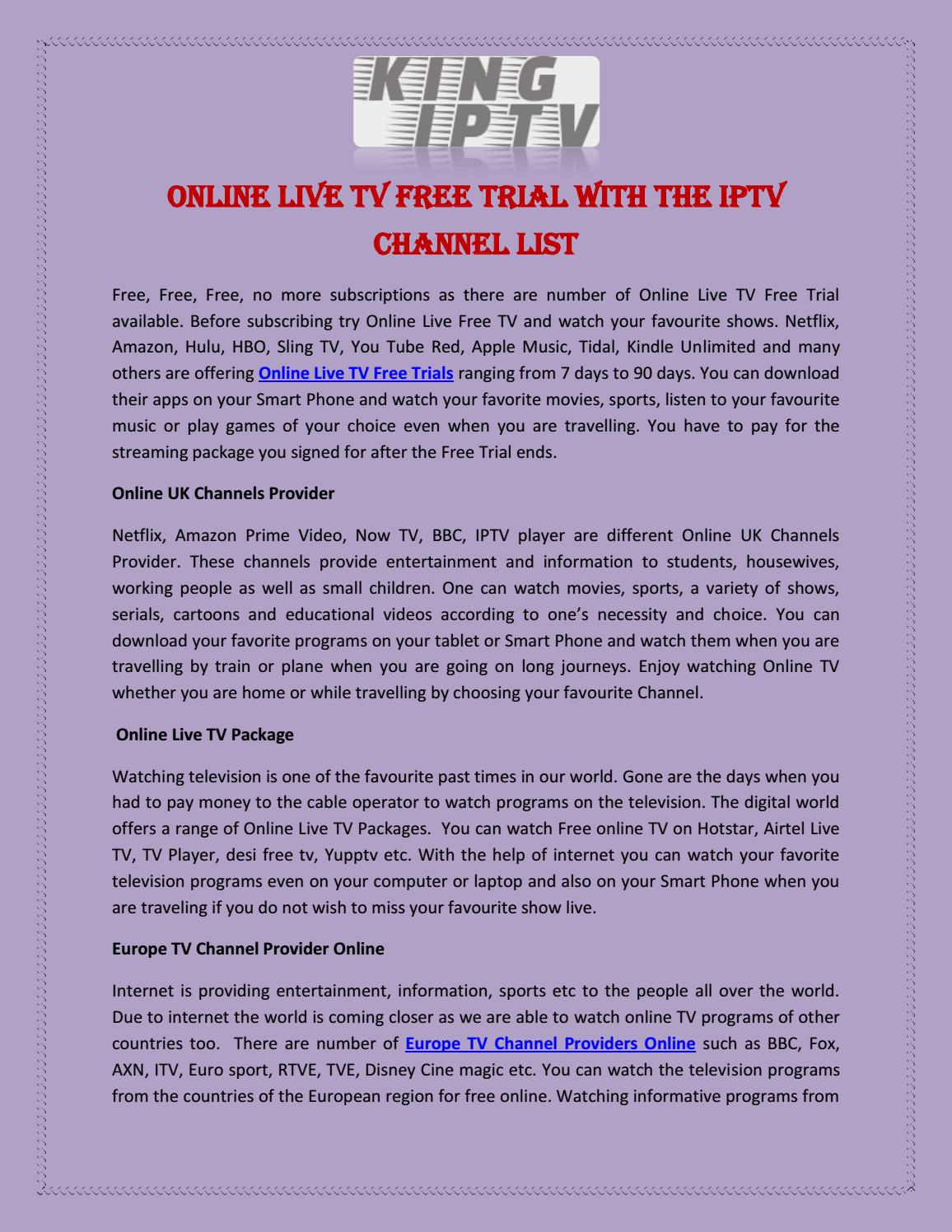 Online Live TV Free Trial with the IPTV Channel Lisl by KING