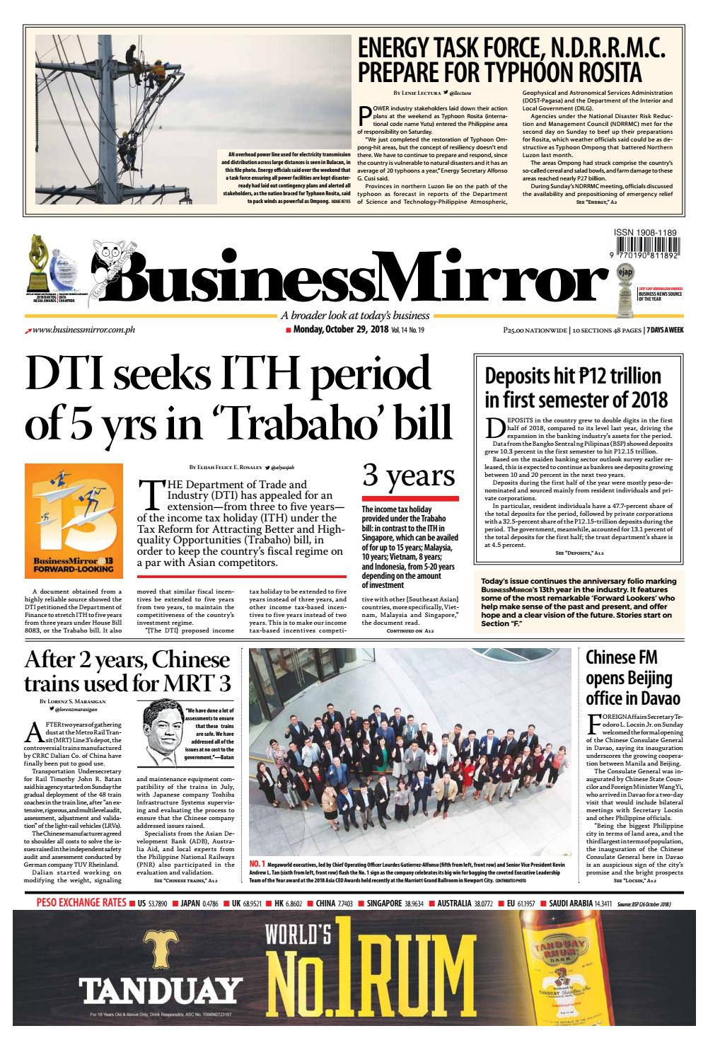 BusinessMirror October 29, 2018 by BusinessMirror - issuu