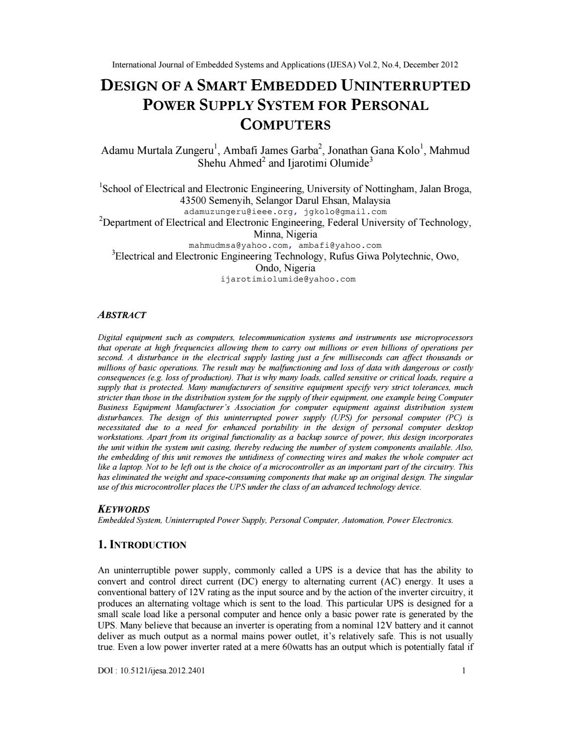 Design Of A Smart Embedded Uninterrupted Power Supply System For Personal Computers By Ijesa Journal Issuu