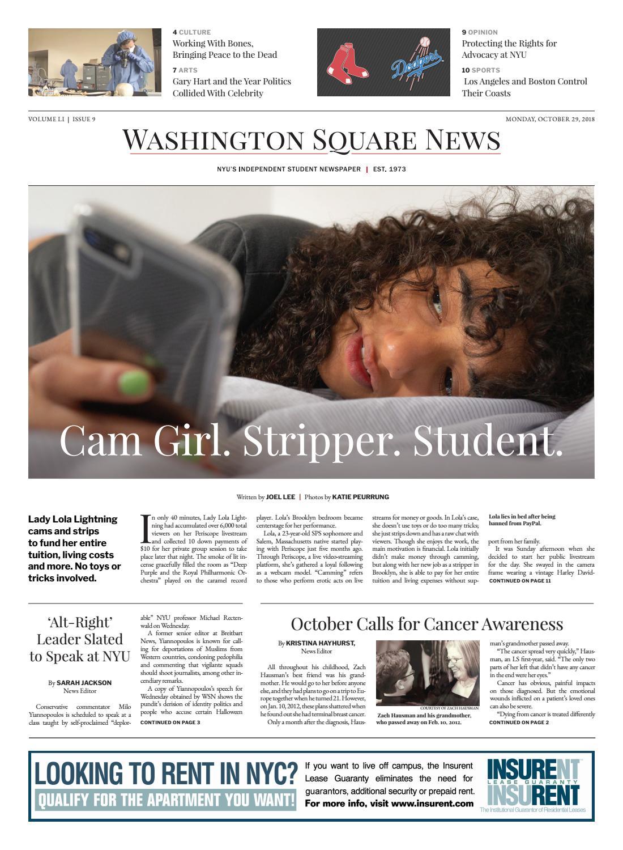 Washington Square News, October 29, 2018 by Washington