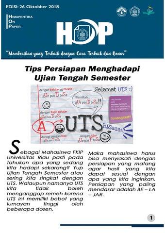 Tips Persiapan Menghadapi UTS (HOP EDISI 29 Oktober 2018)