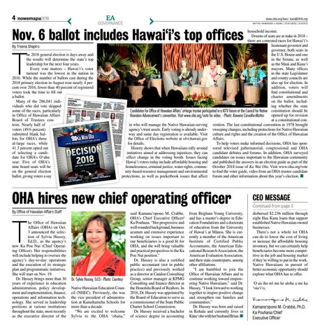 Page 4 of Nov. 6 ballot includes Hawai'i's top offices
