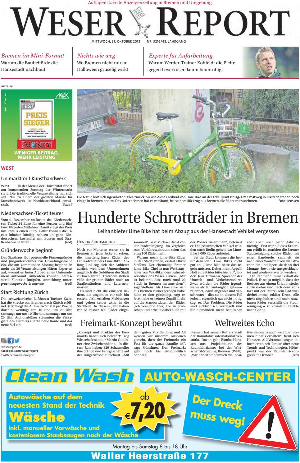 Weser Report West Vom 31 10 2018 By Kps Verlagsgesellschaft Mbh