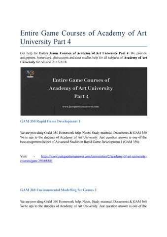 Entire Game Courses of Academy of Art University Part 4 | Just Question  Answer