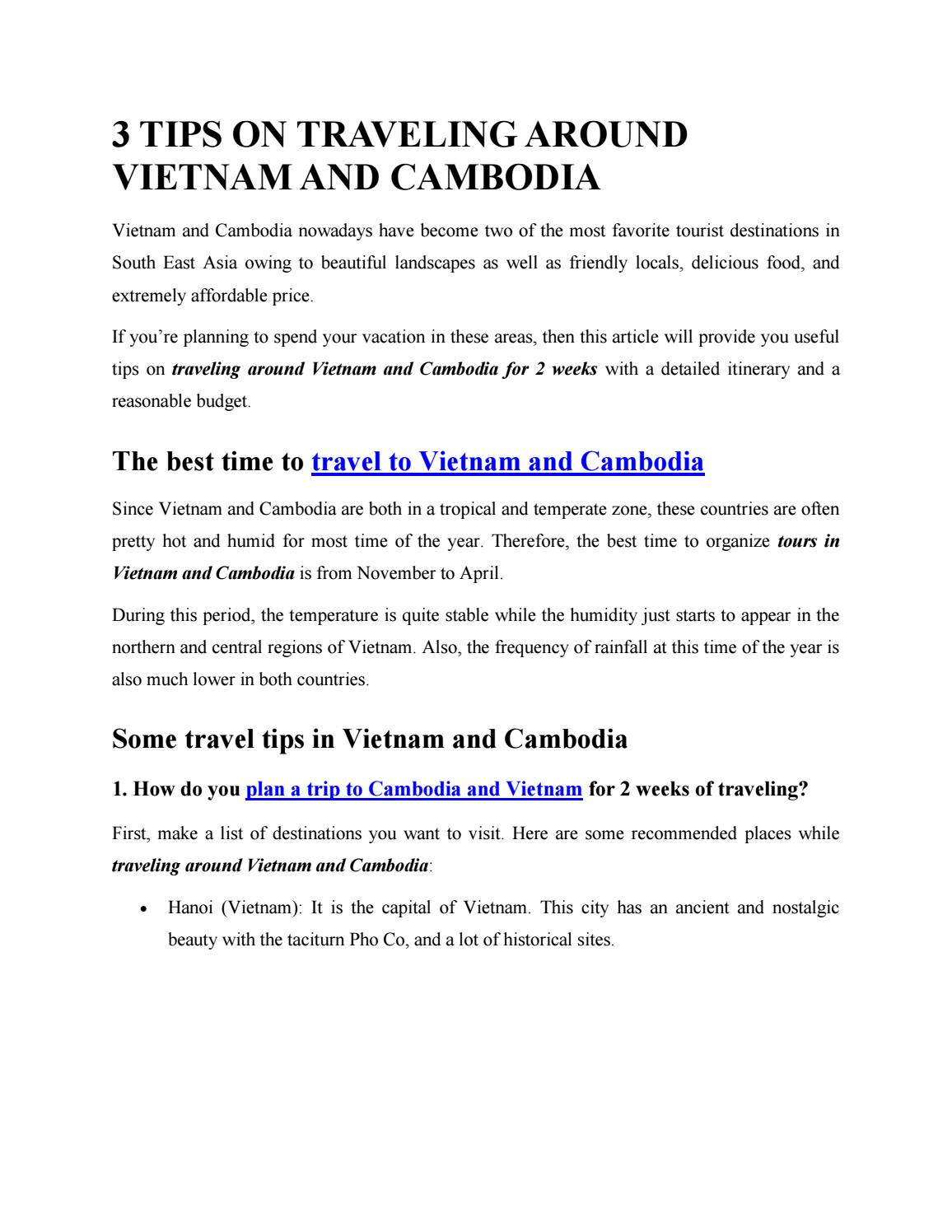 3 tips on traveling around Vietnam and Cambodia by trip-viet