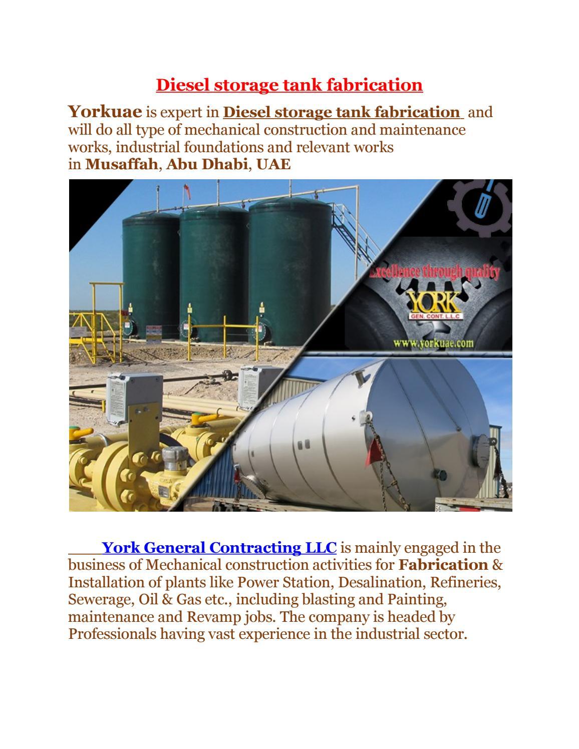 Diesel storage tank Fabrication companies in Musaffah, Abu