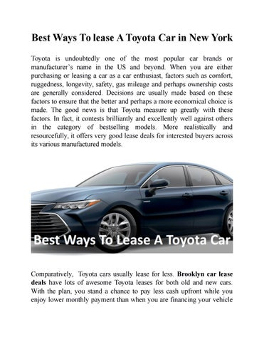 Toyota Lease Deals >> Best Ways To Lease A Toyota Car In New York By Jane