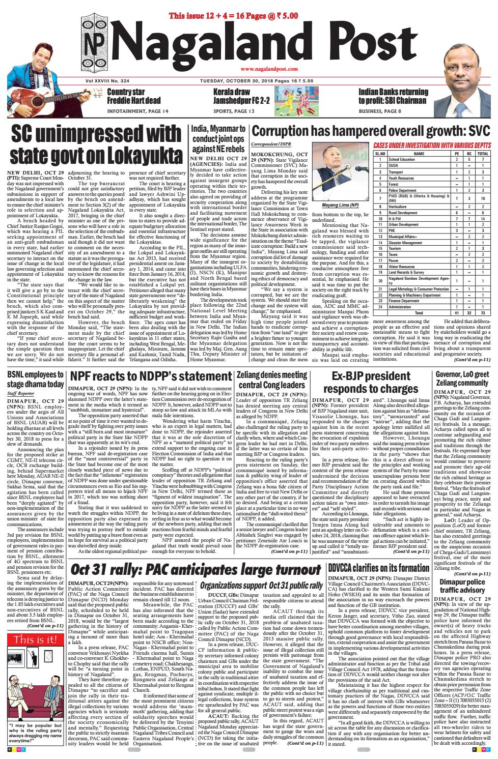 October 30, 2018 by Nagaland Post - issuu