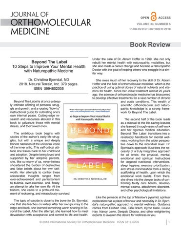 Book Review: Beyond The Label by Journal of Orthomolecular