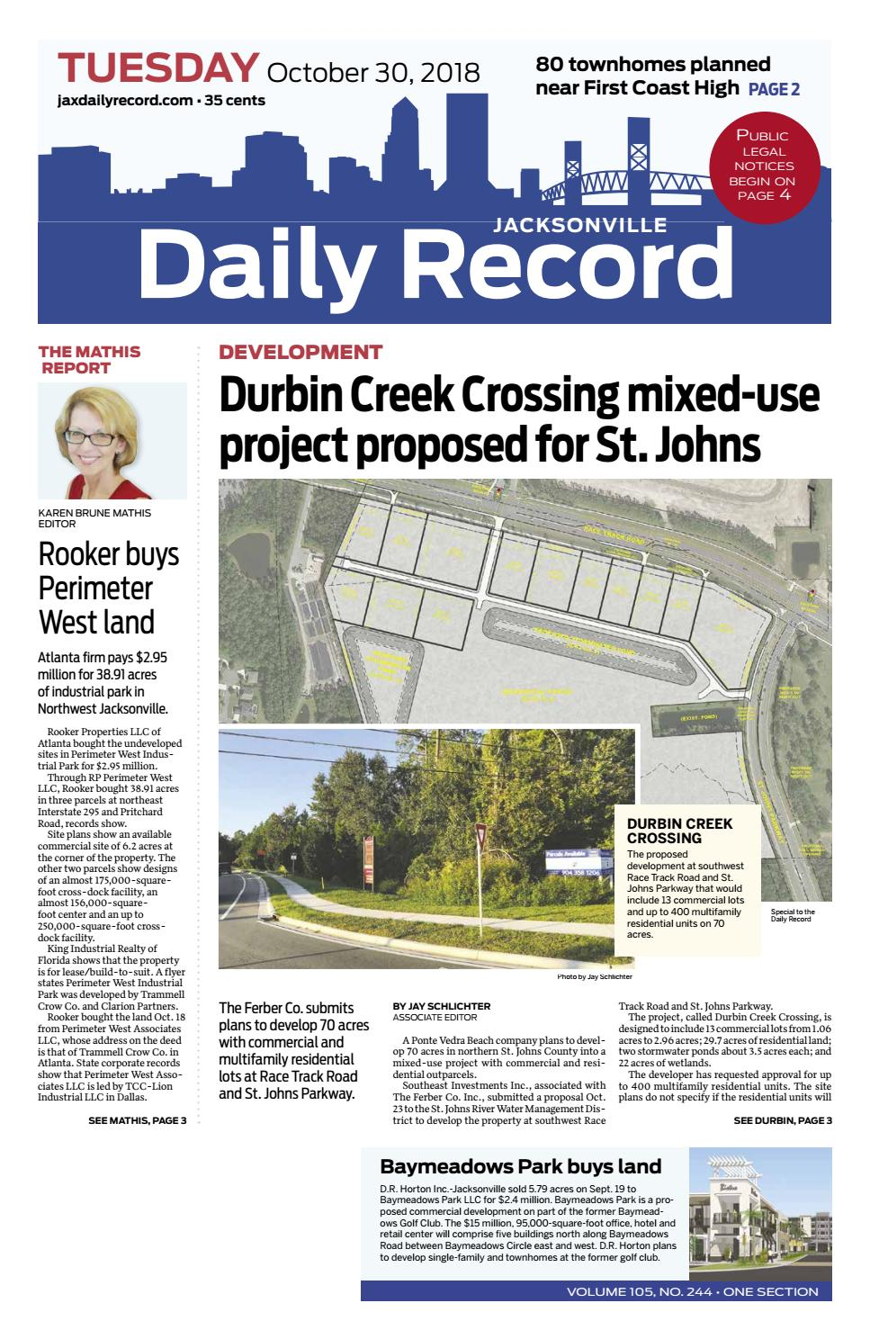 Jacksonville Daily Record 10/30/18 by Daily Record