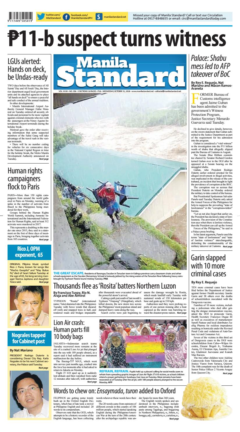 Manila Standard - 2018 October 31 - Wednesday by Manila Standard - issuu
